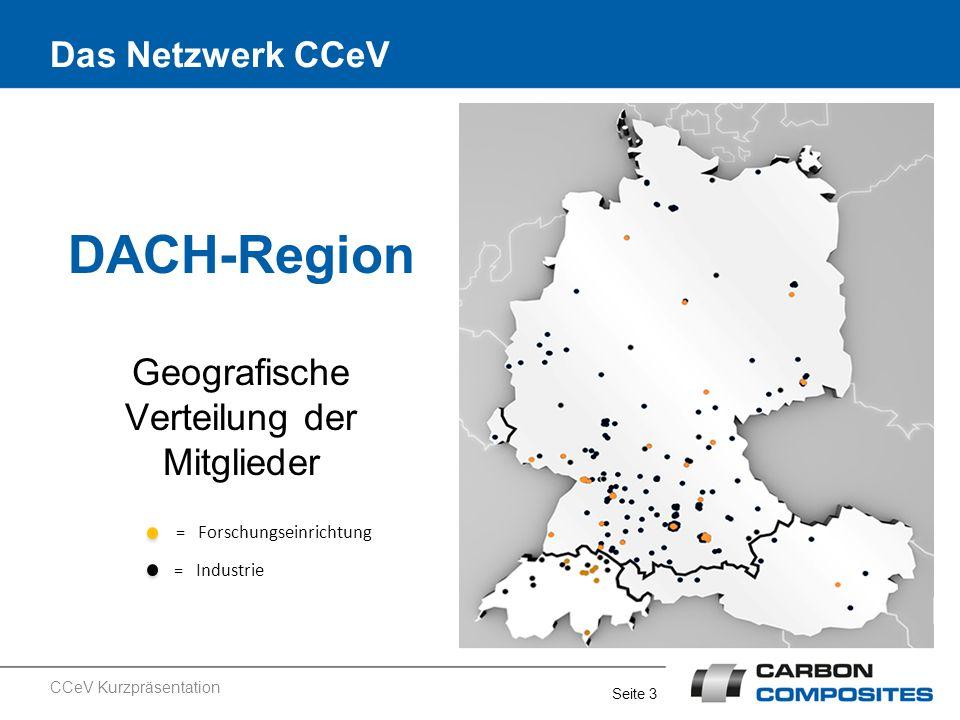 Seite 3 Das Netzwerk CCeV DACH-Region Geografische Verteilung der Mitglieder = Forschungseinrichtung = Industrie CCeV Kurzpräsentation