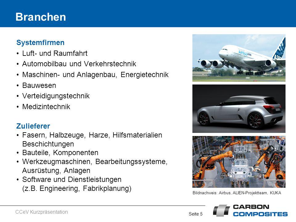 Seite 5 Systemfirmen Luft- und Raumfahrt Automobilbau und Verkehrstechnik Maschinen- und Anlagenbau, Energietechnik Bauwesen Verteidigungstechnik Medi