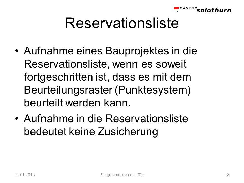 Reservationsliste Aufnahme eines Bauprojektes in die Reservationsliste, wenn es soweit fortgeschritten ist, dass es mit dem Beurteilungsraster (Punkte
