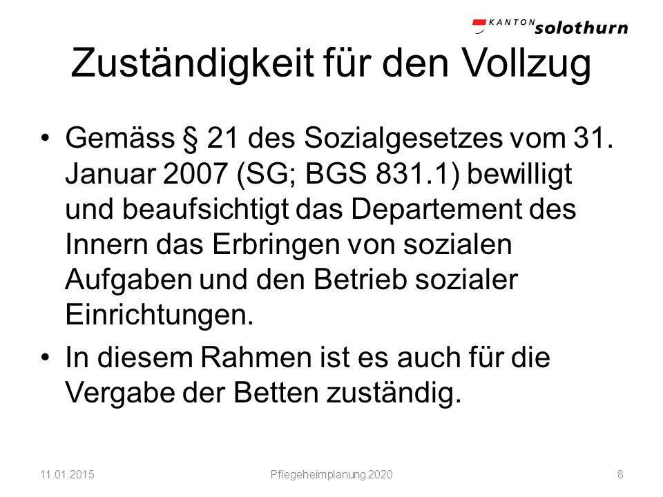 Zuständigkeit für den Vollzug Gemäss § 21 des Sozialgesetzes vom 31. Januar 2007 (SG; BGS 831.1) bewilligt und beaufsichtigt das Departement des Inner