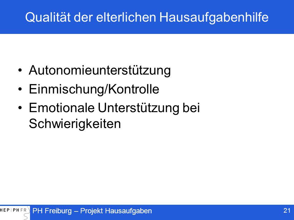 PH Freiburg – Projekt Hausaufgaben Qualität der elterlichen Hausaufgabenhilfe Autonomieunterstützung Einmischung/Kontrolle Emotionale Unterstützung bei Schwierigkeiten 21