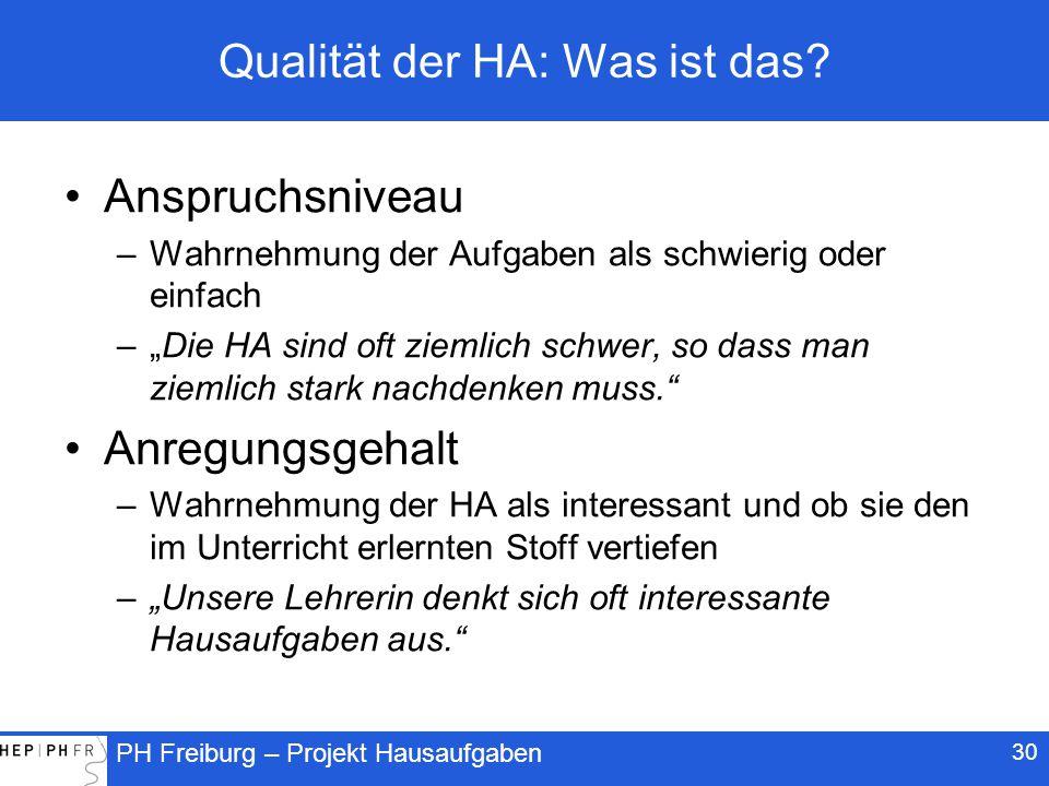 PH Freiburg – Projekt Hausaufgaben 30 Qualität der HA: Was ist das.