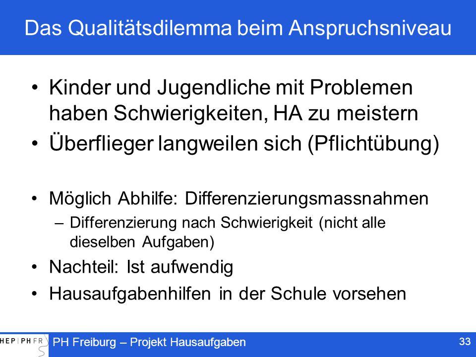 PH Freiburg – Projekt Hausaufgaben 33 Das Qualitätsdilemma beim Anspruchsniveau Kinder und Jugendliche mit Problemen haben Schwierigkeiten, HA zu meistern Überflieger langweilen sich (Pflichtübung) Möglich Abhilfe: Differenzierungsmassnahmen –Differenzierung nach Schwierigkeit (nicht alle dieselben Aufgaben) Nachteil: Ist aufwendig Hausaufgabenhilfen in der Schule vorsehen