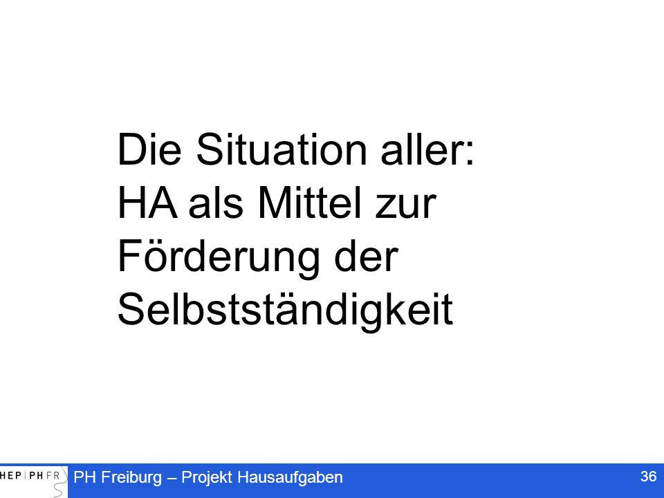 PH Freiburg – Projekt Hausaufgaben 36 Die Situation aller: HA als Mittel zur Förderung der Selbstständigkeit