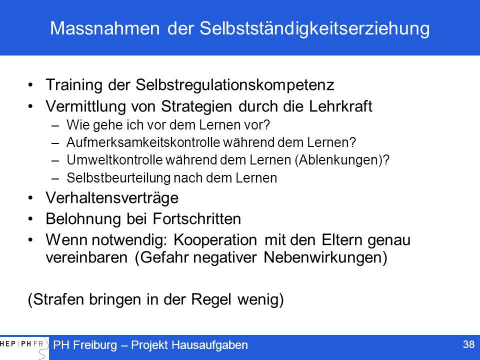 PH Freiburg – Projekt Hausaufgaben 38 Massnahmen der Selbstständigkeitserziehung Training der Selbstregulationskompetenz Vermittlung von Strategien durch die Lehrkraft –Wie gehe ich vor dem Lernen vor.