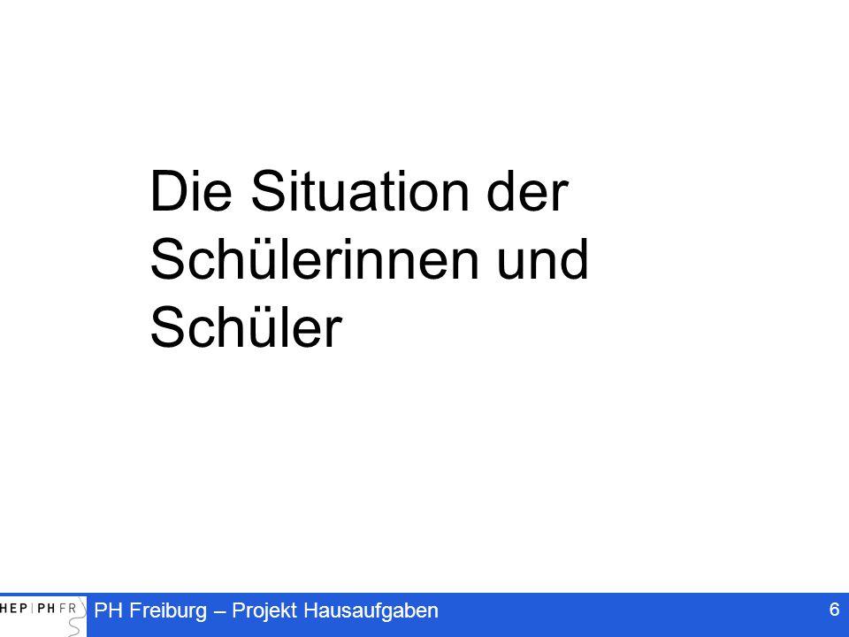 PH Freiburg – Projekt Hausaufgaben 37 Selbstständigkeit als erzieherische Herausforderung Die Förderung der Selbstständigkeit ist ein anspruchsvolles Lernziel Selbstständigkeit ist ein paradoxes Lernziel: Sie wird vorausgesetzt und soll gleichzeitig gefördert werden Selbstständigkeit entwickelt sich langfristig Bei Schüler(innen) mit wenig Selbstkontrolle: Dosierte Lenkung ist notwendig