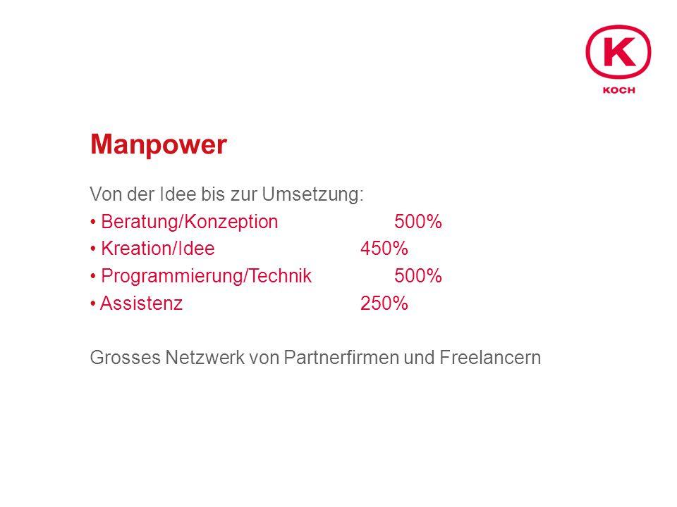 Manpower Von der Idee bis zur Umsetzung: Beratung/Konzeption500% Kreation/Idee450% Programmierung/Technik500% Assistenz250% Grosses Netzwerk von Partnerfirmen und Freelancern