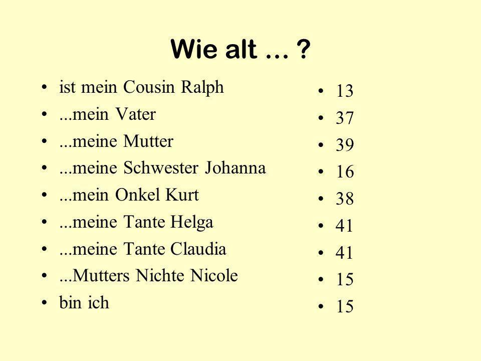 Wie alt... ? ist mein Cousin Ralph...mein Vater...meine Mutter...meine Schwester Johanna...mein Onkel Kurt...meine Tante Helga...meine Tante Claudia..