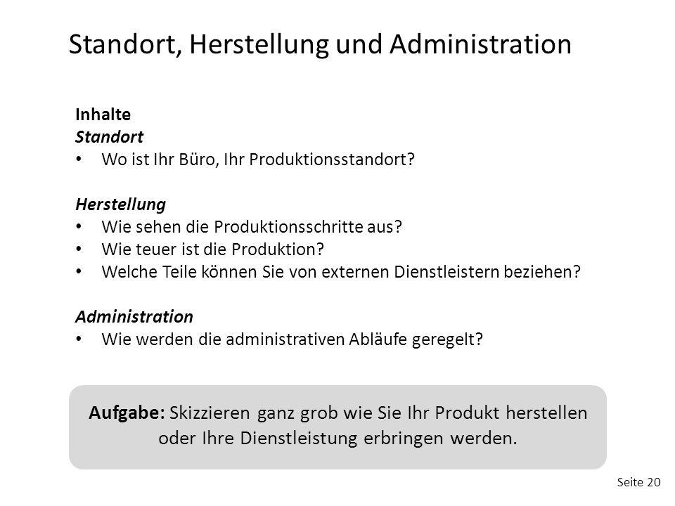 Seite 20 Standort, Herstellung und Administration Inhalte Standort Wo ist Ihr Büro, Ihr Produktionsstandort? Herstellung Wie sehen die Produktionsschr