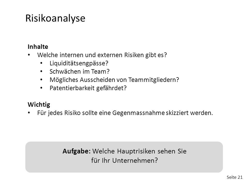Seite 21 Risikoanalyse Inhalte Welche internen und externen Risiken gibt es? Liquiditätsengpässe? Schwächen im Team? Mögliches Ausscheiden von Teammit
