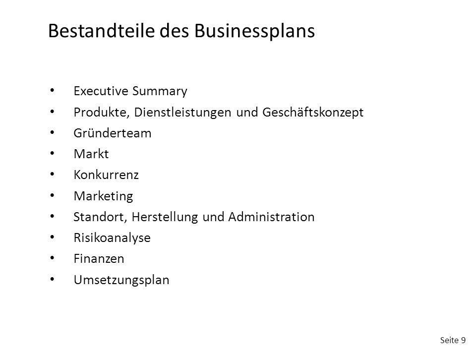 Seite 9 Bestandteile des Businessplans Executive Summary Produkte, Dienstleistungen und Geschäftskonzept Gründerteam Markt Konkurrenz Marketing Stando