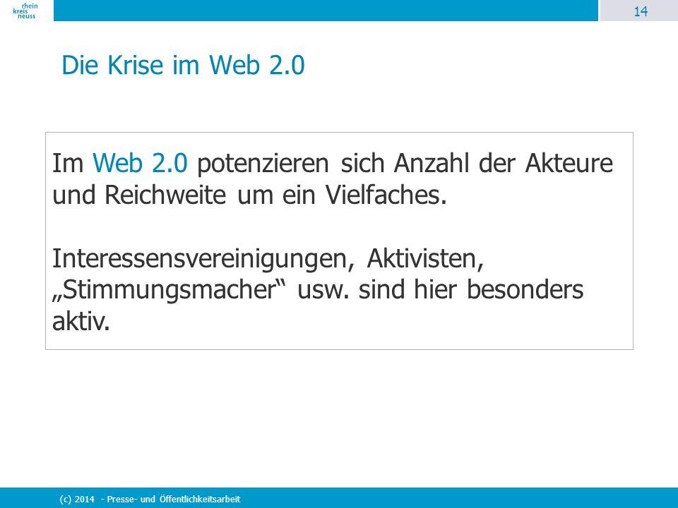 14 (c) 2014 - Presse- und Öffentlichkeitsarbeit Die Krise im Web 2.0 Im Web 2.0 potenzieren sich Anzahl der Akteure und Reichweite um ein Vielfaches.