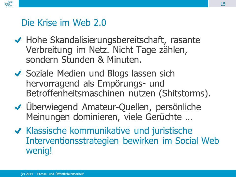 15 (c) 2014 - Presse- und Öffentlichkeitsarbeit Die Krise im Web 2.0 Hohe Skandalisierungsbereitschaft, rasante Verbreitung im Netz. Nicht Tage zählen