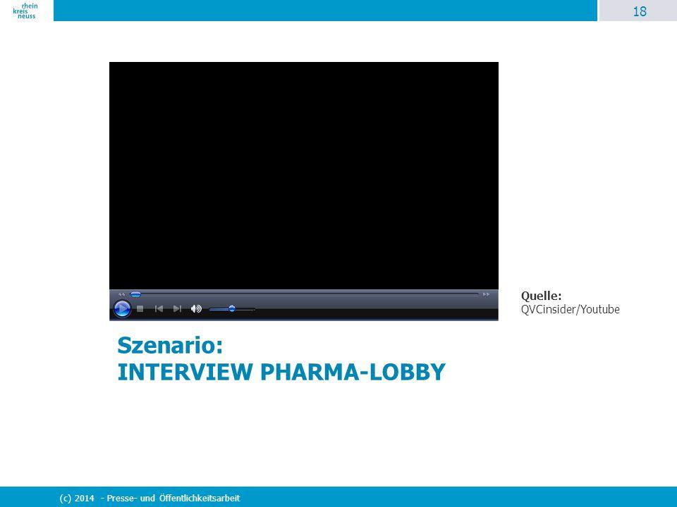 18 (c) 2014 - Presse- und Öffentlichkeitsarbeit Szenario: INTERVIEW PHARMA-LOBBY Quelle: QVCinsider/Youtube