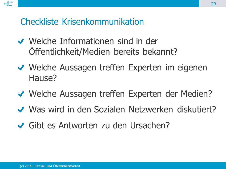 29 (c) 2014 - Presse- und Öffentlichkeitsarbeit Checkliste Krisenkommunikation Welche Informationen sind in der Öffentlichkeit/Medien bereits bekannt?