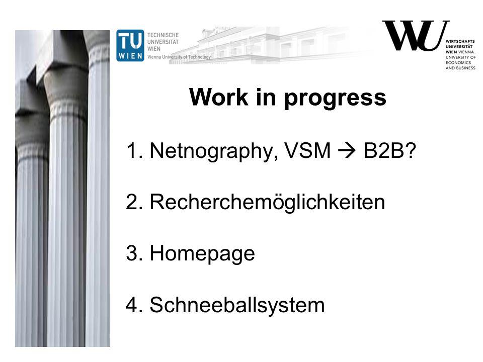 1. Netnography, VSM  B2B? 2. Recherchemöglichkeiten 3. Homepage 4. Schneeballsystem Work in progress