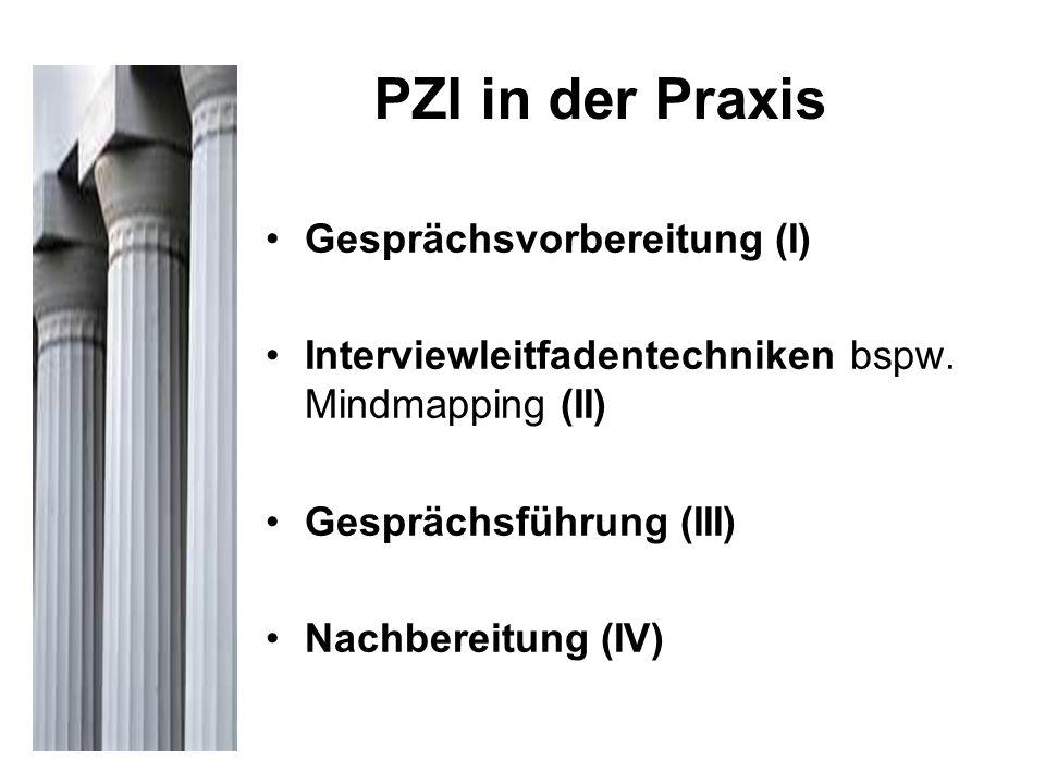 PZI in der Praxis Gesprächsvorbereitung (I) Interviewleitfadentechniken bspw. Mindmapping (II) Gesprächsführung (III) Nachbereitung (IV)