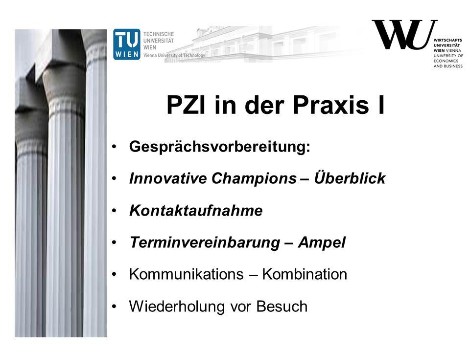 PZI in der Praxis I Gesprächsvorbereitung: Innovative Champions – Überblick Kontaktaufnahme Terminvereinbarung – Ampel Kommunikations – Kombination Wi
