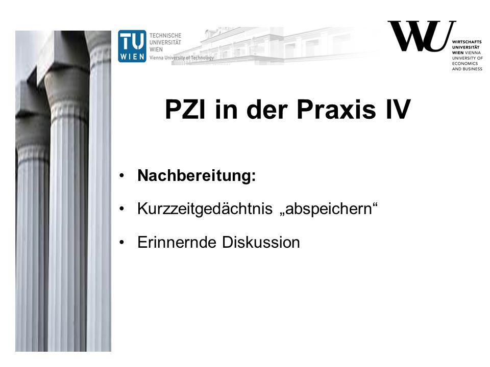 """PZI in der Praxis IV Nachbereitung: Kurzzeitgedächtnis """"abspeichern"""" Erinnernde Diskussion"""