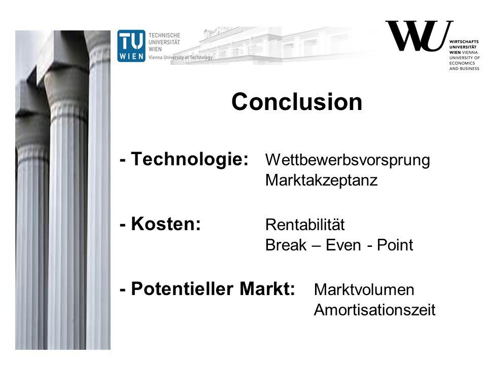 - Technologie: Wettbewerbsvorsprung Marktakzeptanz - Kosten: Rentabilität Break – Even - Point - Potentieller Markt: Marktvolumen Amortisationszeit Co