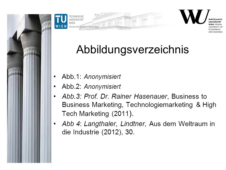 Abbildungsverzeichnis Abb.1: Anonymisiert Abb.2: Anonymisiert Abb.3: Prof. Dr. Rainer Hasenauer, Business to Business Marketing, Technologiemarketing