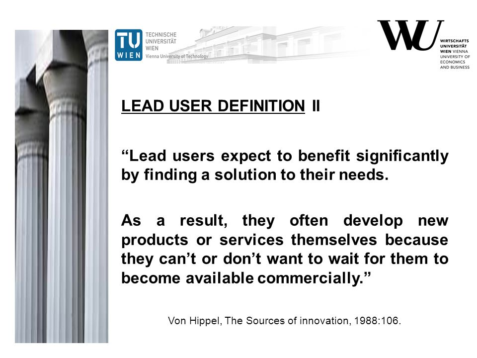 Boeing Eric von Hippel, Lead User Project Handbook, 2008:99.