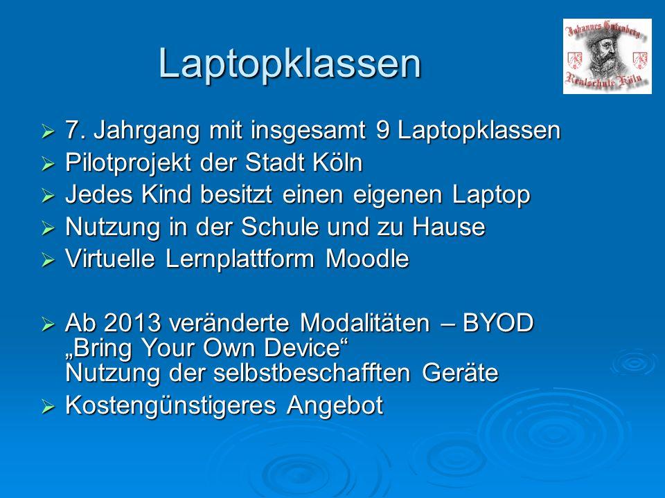 Laptopklassen  7. Jahrgang mit insgesamt 9 Laptopklassen  Pilotprojekt der Stadt Köln  Jedes Kind besitzt einen eigenen Laptop  Nutzung in der Sch