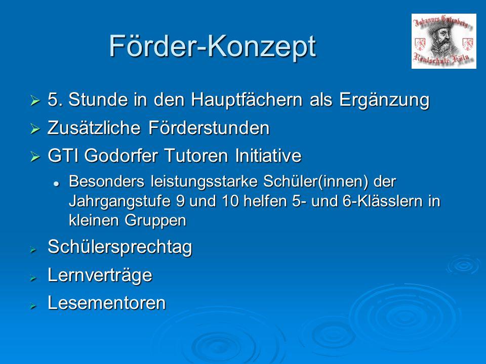 Förder-Konzept  5. Stunde in den Hauptfächern als Ergänzung  Zusätzliche Förderstunden  GTI Godorfer Tutoren Initiative Besonders leistungsstarke S