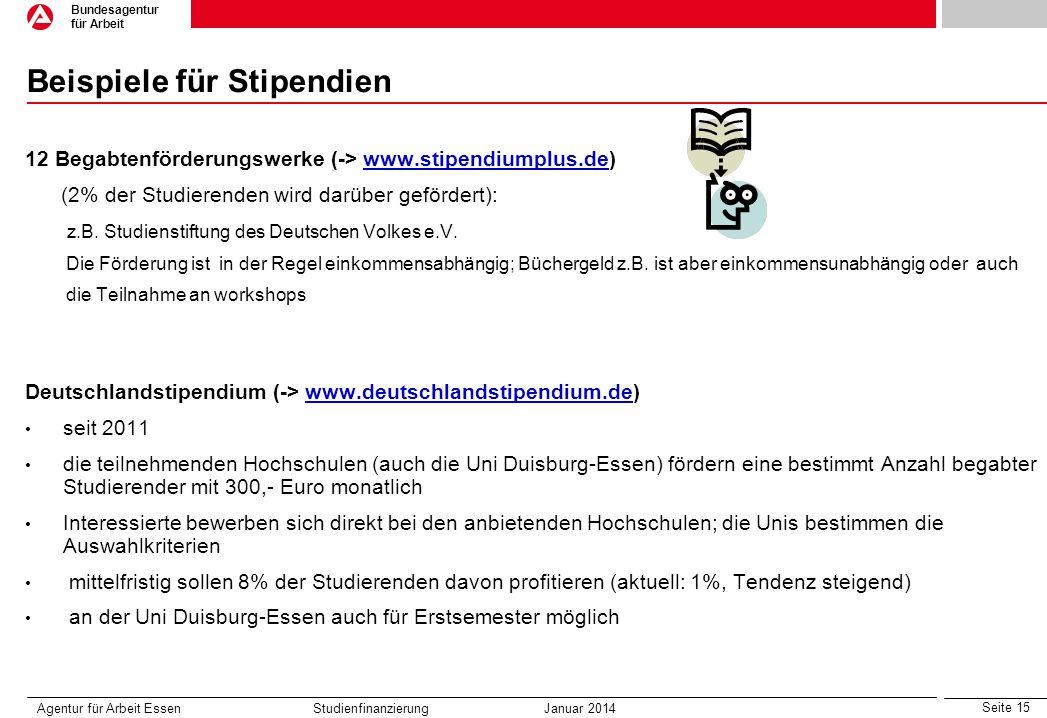 Seite 15 Bundesagentur für Arbeit Beispiele für Stipendien 12 Begabtenförderungswerke (-> www.stipendiumplus.de)www.stipendiumplus.de (2% der Studiere