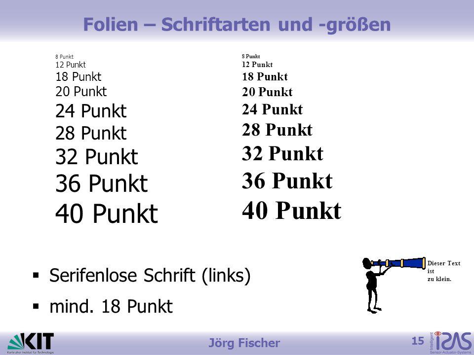 15 Jörg Fischer Folien – Schriftarten und -größen 8 Punkt 12 Punkt 18 Punkt 20 Punkt 24 Punkt 28 Punkt 32 Punkt 36 Punkt 40 Punkt Dieser Text ist zu klein.