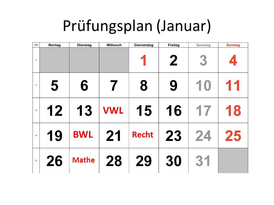 Prüfungsplan (Januar) VWL BWL Recht Mathe