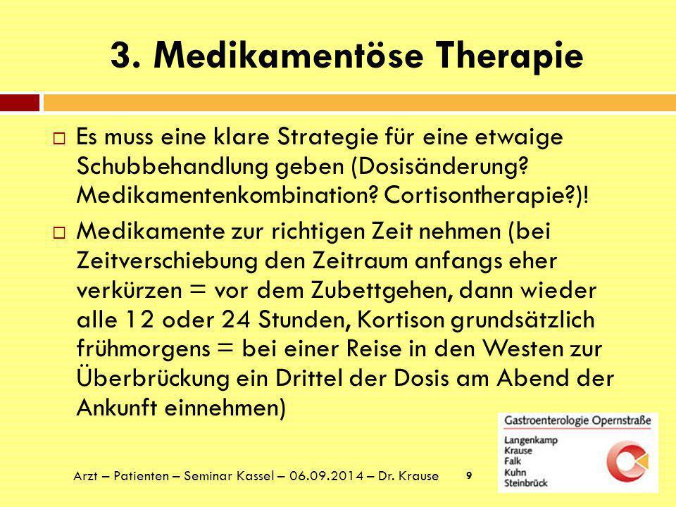 3. Medikamentöse Therapie  Es muss eine klare Strategie für eine etwaige Schubbehandlung geben (Dosisänderung? Medikamentenkombination? Cortisonthera