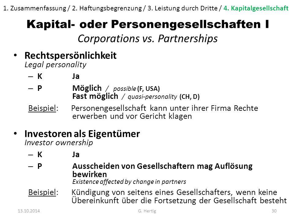 Kapital- oder Personengesellschaften I Corporations vs.