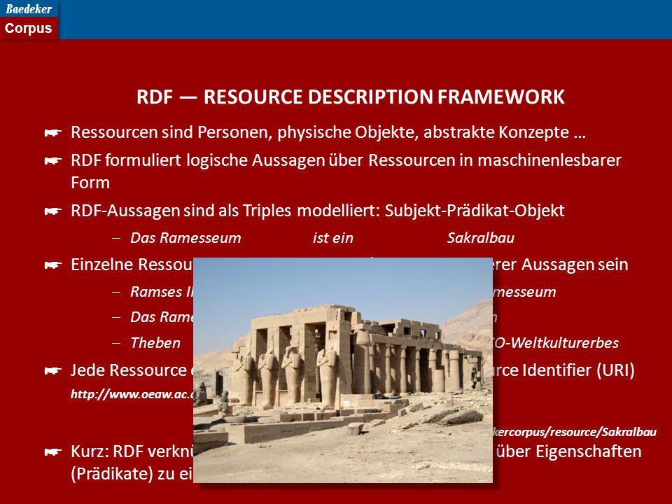 RDF — RESOURCE DESCRIPTION FRAMEWORK ☛ Ressourcen sind Personen, physische Objekte, abstrakte Konzepte … ☛ RDF formuliert logische Aussagen über Ressourcen in maschinenlesbarer Form ☛ RDF-Aussagen sind als Triples modelliert: Subjekt-Prädikat-Objekt  Das Ramesseum ist einSakralbau ☛ Einzelne Ressourcen können Subjekt u./o.