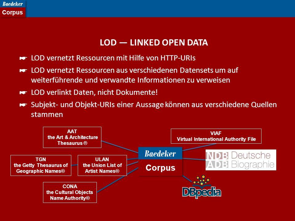 LOD — LINKED OPEN DATA ☛ LOD vernetzt Ressourcen mit Hilfe von HTTP-URIs ☛ LOD vernetzt Ressourcen aus verschiedenen Datensets um auf weiterführende und verwandte Informationen zu verweisen ☛ LOD verlinkt Daten, nicht Dokumente.