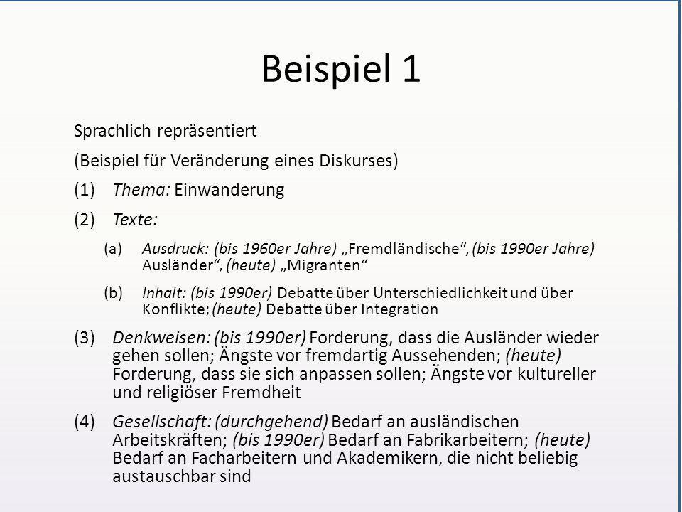 """Beispiel 1 Sprachlich repräsentiert (Beispiel für Veränderung eines Diskurses) (1)Thema: Einwanderung (2)Texte: (a)Ausdruck: (bis 1960er Jahre) """"Fremd"""
