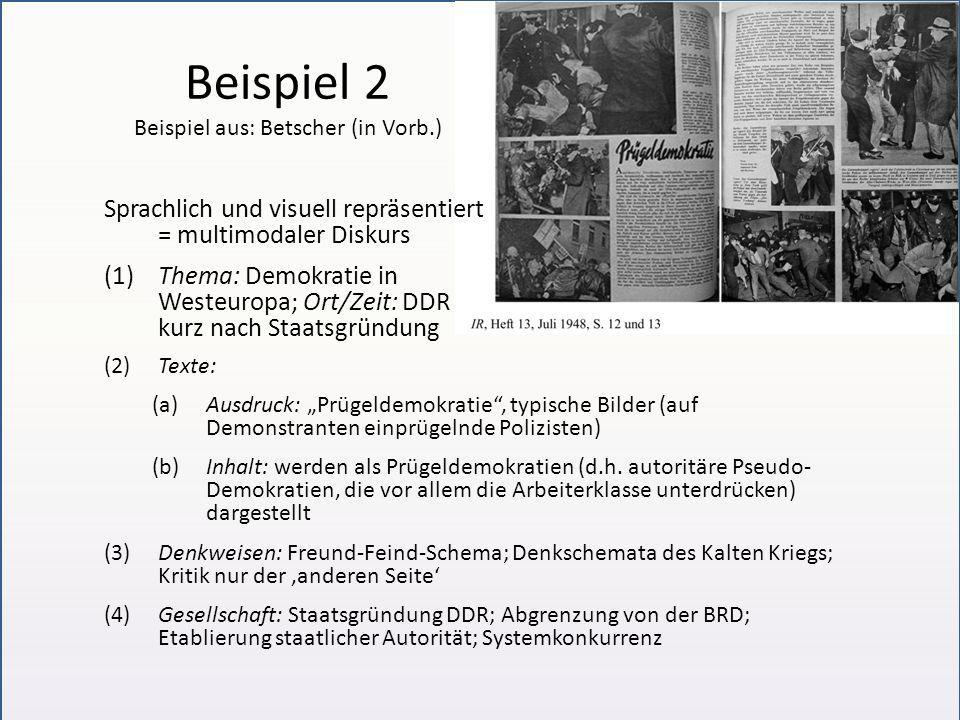 Beispiel 2 Beispiel aus: Betscher (in Vorb.) Sprachlich und visuell repräsentiert = multimodaler Diskurs (1)Thema: Demokratie in Westeuropa; Ort/Zeit: