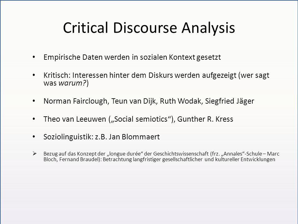 Diskursmodelle in Bezug auf das semiotische 4-Ebenen-Modell Foucault und Kritische DA: Betonung der Ebene (4) ausgehend von Einzelbeispielen und allgemeiner Beschreibung der Textebene (2) Linguistische /semiotische DA: genauere Analyse der Ebene (2)) Korpusanalyse: – Zusammenstellung des Korpus entspricht einer Festlegung auf Ebene (1) – Quantitative Beschreibung der Ebene (2a) Kognitive DA fokussiert auf Ebene (3) Soziologische Diskursanalyse fokussiert auf Ebene (4)