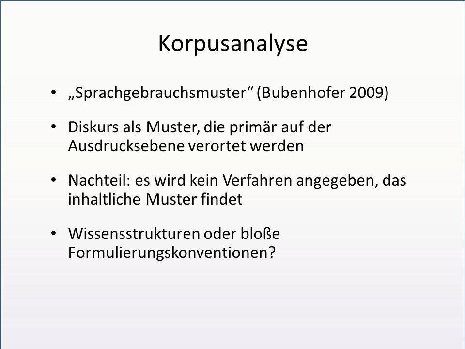 """Korpusanalyse """"Sprachgebrauchsmuster"""" (Bubenhofer 2009) Diskurs als Muster, die primär auf der Ausdrucksebene verortet werden Nachteil: es wird kein V"""