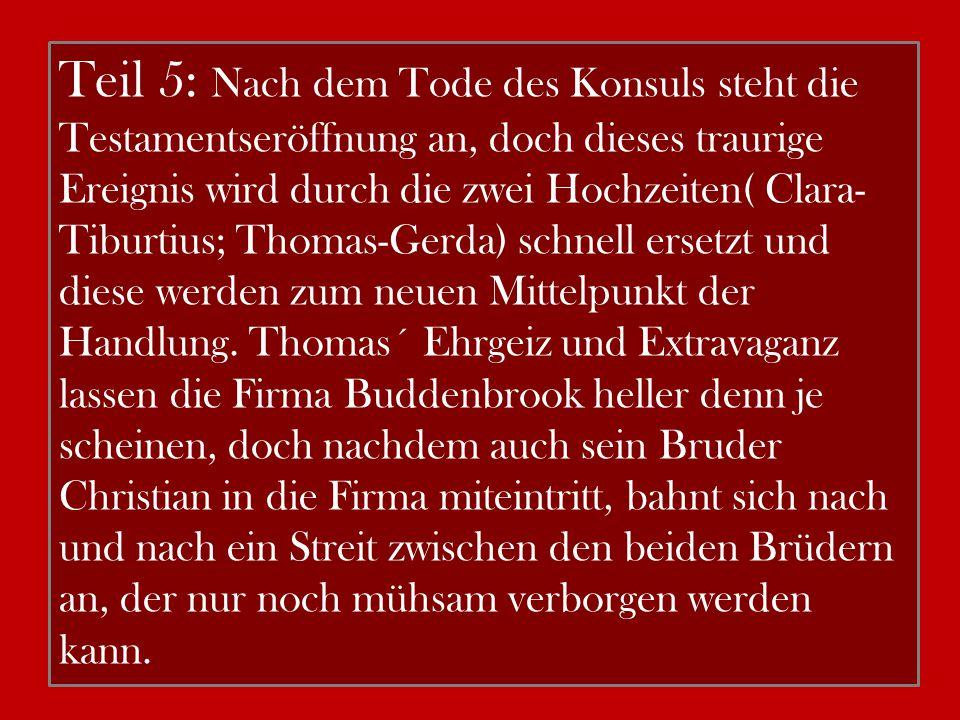 Teil 5: Nach dem Tode des Konsuls steht die Testamentseröffnung an, doch dieses traurige Ereignis wird durch die zwei Hochzeiten( Clara- Tiburtius; Th