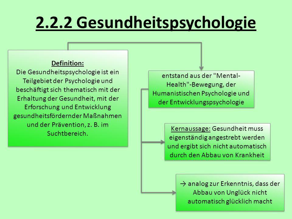 2.2.2 Gesundheitspsychologie Definition: Die Gesundheitspsychologie ist ein Teilgebiet der Psychologie und beschäftigt sich thematisch mit der Erhaltu