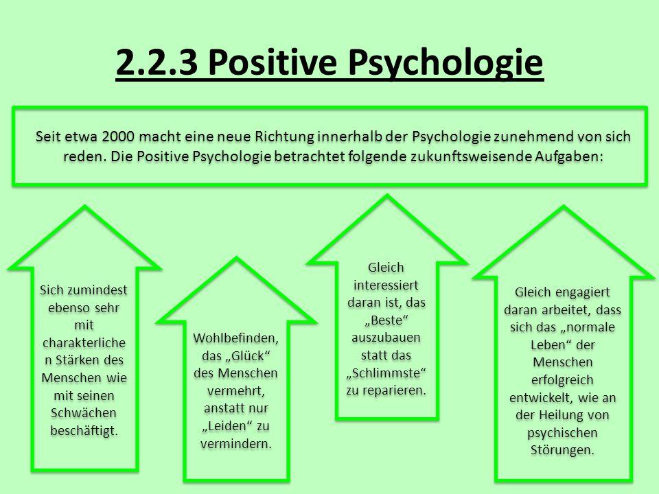 2.2.3 Positive Psychologie Seit etwa 2000 macht eine neue Richtung innerhalb der Psychologie zunehmend von sich reden. Die Positive Psychologie betrac
