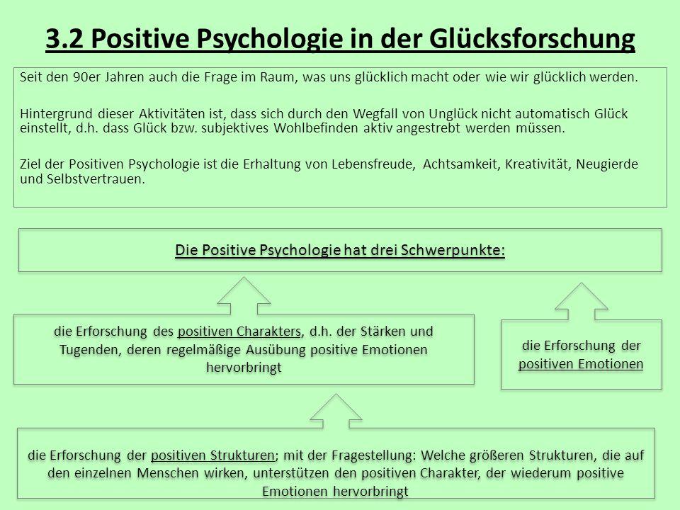 3.2 Positive Psychologie in der Glücksforschung Seit den 90er Jahren auch die Frage im Raum, was uns glücklich macht oder wie wir glücklich werden. Hi