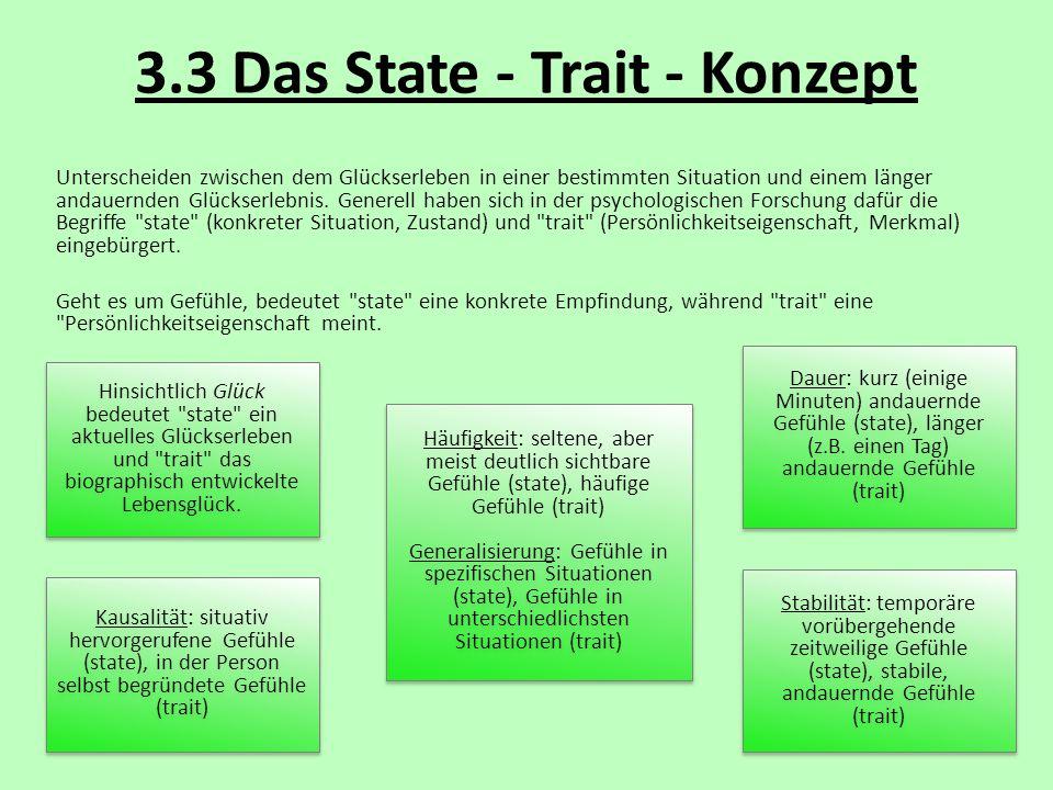 3.3 Das State - Trait - Konzept Unterscheiden zwischen dem Glückserleben in einer bestimmten Situation und einem länger andauernden Glückserlebnis. Ge