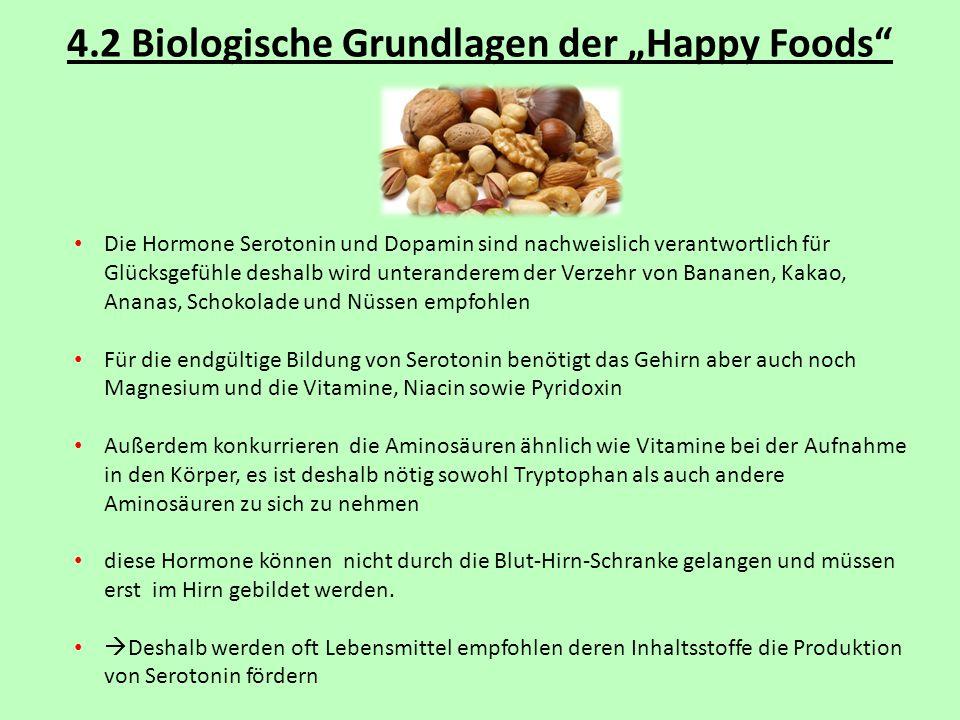 """4.2 Biologische Grundlagen der """"Happy Foods"""" Die Hormone Serotonin und Dopamin sind nachweislich verantwortlich für Glücksgefühle deshalb wird unteran"""