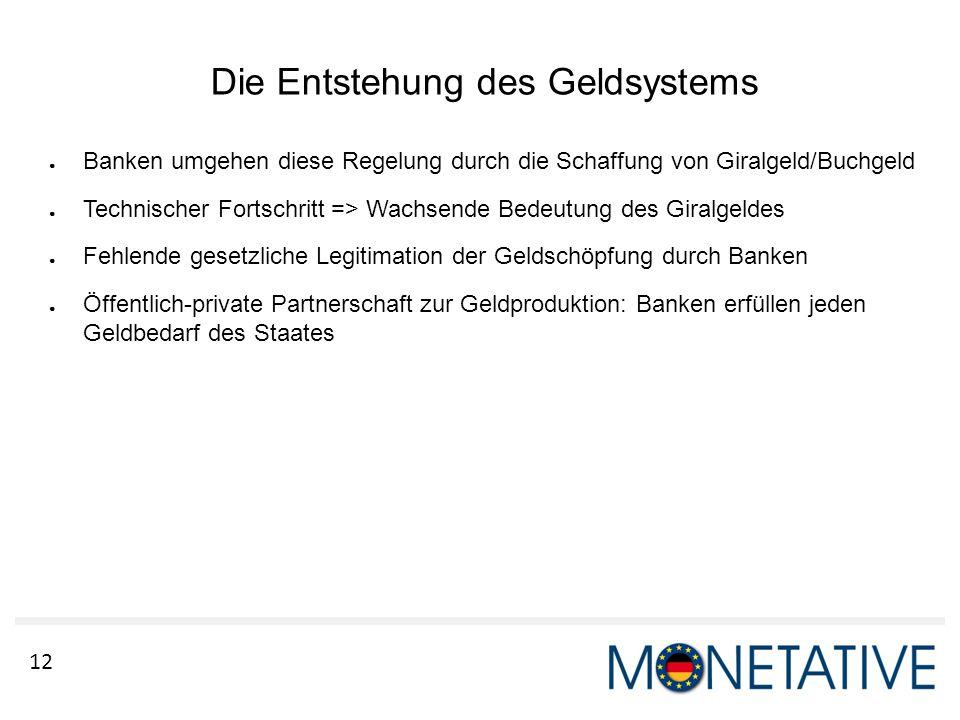 12 Die Entstehung des Geldsystems ● Banken umgehen diese Regelung durch die Schaffung von Giralgeld/Buchgeld ● Technischer Fortschritt => Wachsende Be