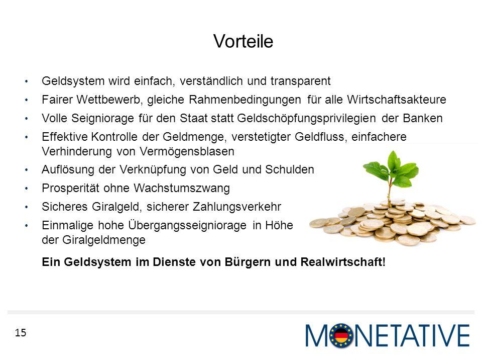 15 Vorteile Geldsystem wird einfach, verständlich und transparent Fairer Wettbewerb, gleiche Rahmenbedingungen für alle Wirtschaftsakteure Volle Seign