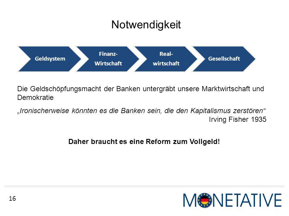 """16 Notwendigkeit Die Geldschöpfungsmacht der Banken untergräbt unsere Marktwirtschaft und Demokratie """"Ironischerweise könnten es die Banken sein, die"""