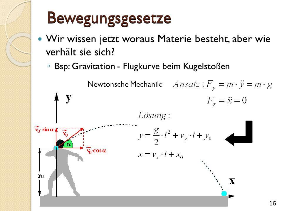 Bewegungsgesetze Wir wissen jetzt woraus Materie besteht, aber wie verhält sie sich? ◦ Bsp: Gravitation - Flugkurve beim Kugelstoßen 16 Newtonsche Mec