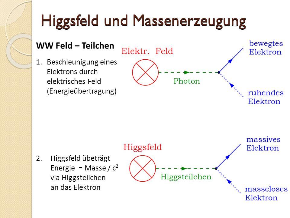 Higgsfeld und Massenerzeugung 1.Beschleunigung eines Elektrons durch elektrisches Feld (Energieübertragung) 2.Higgsfeld übeträgt Energie = Masse / c² via Higgsteilchen an das Elektron WW Feld – Teilchen